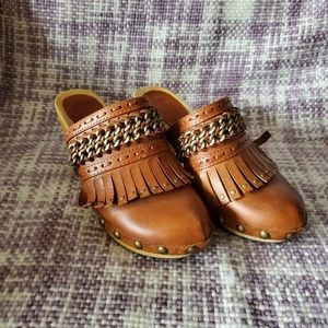 Ash leather and wood heeled clogs size 6